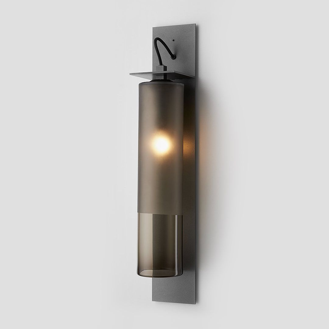 Articolo Tall Eclipse Wall Sconce with a 2/3 Frosted Smoke Shade, Articolo Black Fittings and Black Flex. Photography by @chrisbudgeon . . . . . . . . . . .