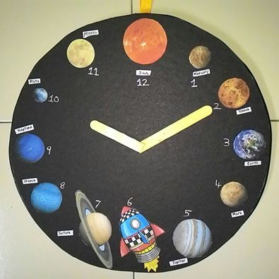 Model of  clock made with thermocol base black chart paper few images  names planets in solar system ice cream sticks also rh pinterest