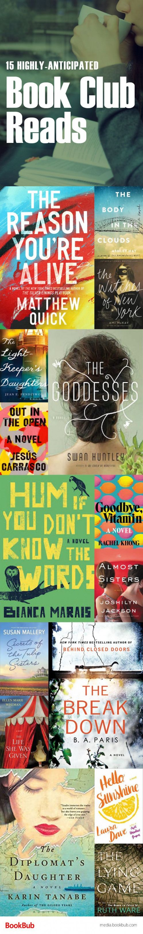 15 highly-anticipated book club books. These book club ideas feature a range of books your book club is sure to love including historical fiction thrillers and more! Great books for women too. #vitamins #hum #vitamins