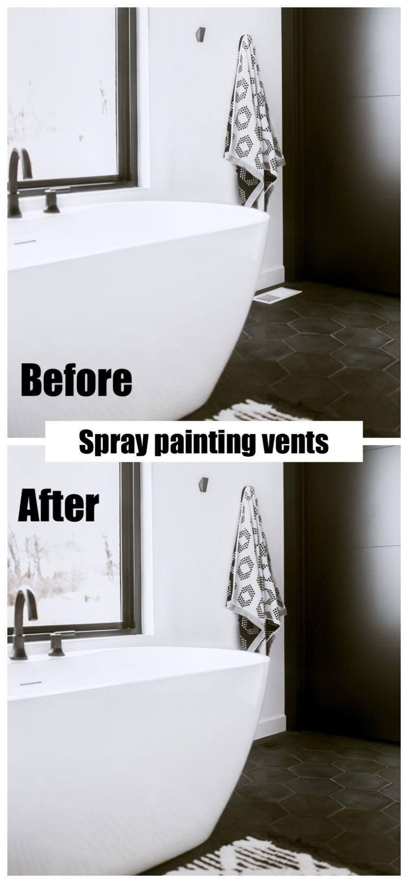 Modern Bathroom Black And White Decor Spray Paint Freestanding