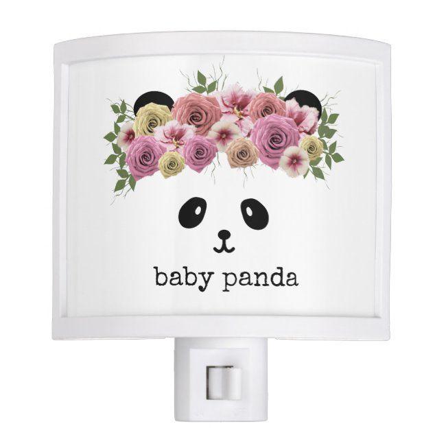 Cute Flower Crown Baby Panda Nursery Night Light | Zazzle.com #babypandabears
