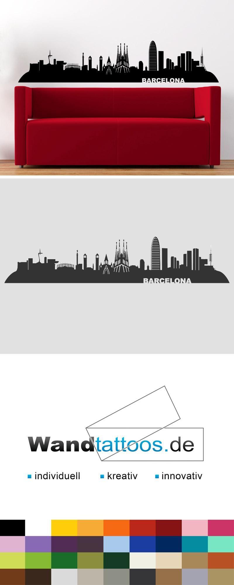 Fresh Wandtattoo Skyline Barcelona Spanien