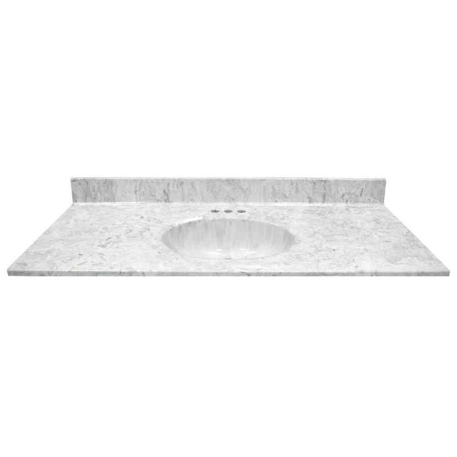 Us Marble Recessed Oval Standard 49 In Gray On White Gloss Cultured Marble Bathroom Vanity Top Lowes Com Bathroom Vanity Tops Marble Bathroom Vanity Unique Bathroom Vanity