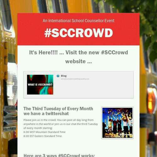 School Counselor Tweet Chat! Hashtag #sccrowd - 3rd Tuesday of Every Month at 8:30pm ET. Join Us!