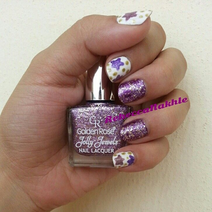 For Californails July Nail Art Challenge Day 4: Stars. Hand Painted Stars with a touch of Glitter using Golden Rose-Jolly Jewels #112