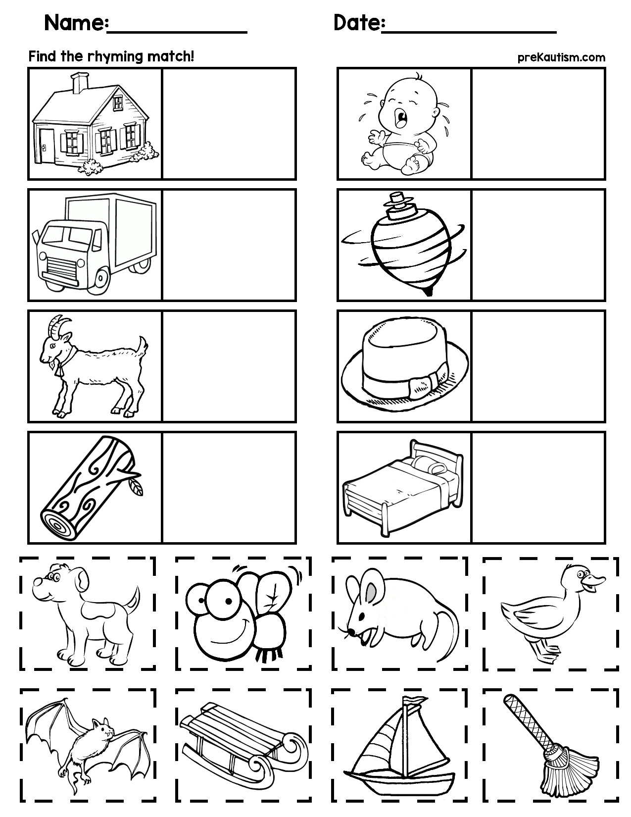 $1   Rhyming worksheets for preschoolers   5 pages [ 1650 x 1275 Pixel ]