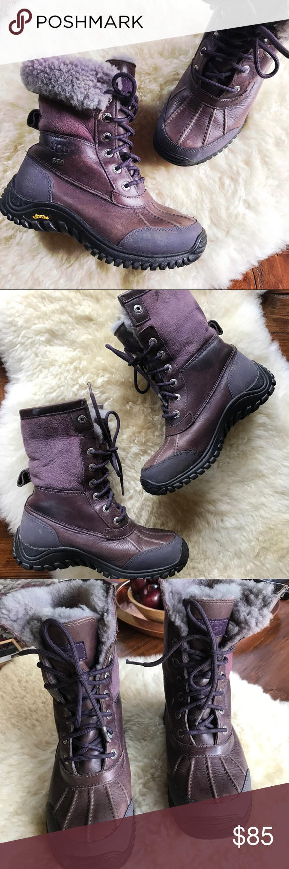 Ugg Adirondack boots in purple (as is) Stay warm in style! They are leather and sheepskin with a solid rubber sole in structurally sound condition.