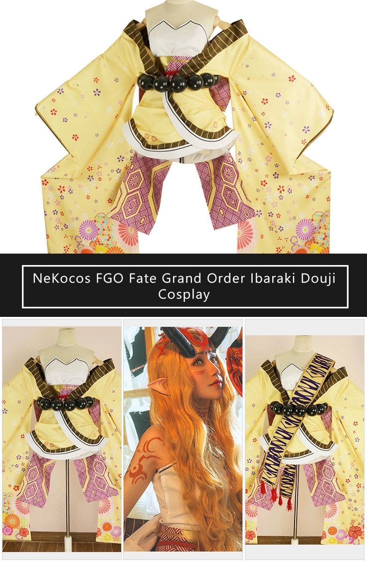 NeKocos FGO Fate Grand Order Ibaraki Douji Cosplay Costume with Worry Beads Belt