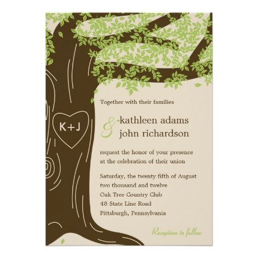 Oak Tree Wedding Invitation Personalized Invite