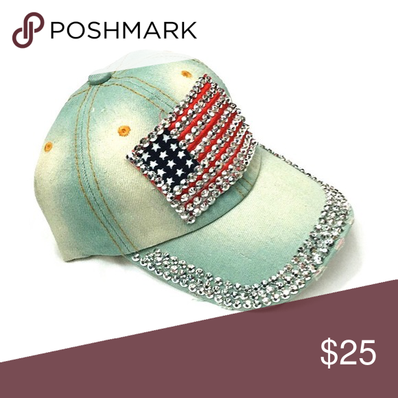 Bedazzled USA Denim Cap Stunning jeweled American Flag denim baseball cap.  Adjustable back. Bundle for 2 and more SIDEKICKS Accessories Hats fc218330c72