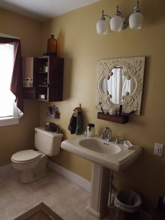 Our mustard painted master bath all mustard prim - Primitive paint colors for bathrooms ...