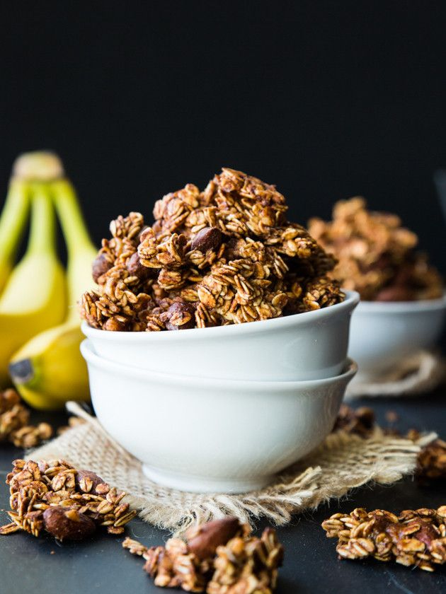 Caramelized Banana Nut Granola: big clusters of oats, caramelized banana, maple syrup, and nuts.