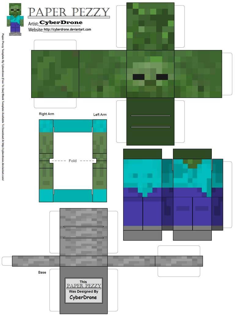 Paper Pezzy Zombie Minecraft By Cyberdrone On Deviantart In 2020 Minecraft Crafts Minecraft Papercraft Minecraft Skin