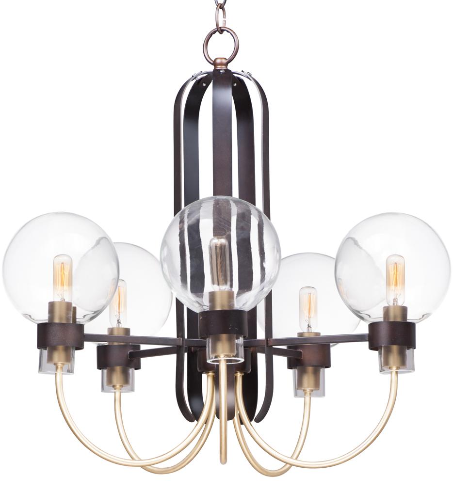 Maxim Lighting 30516clbzsbr Bauhaus Bronze Satin Brass 5 Light