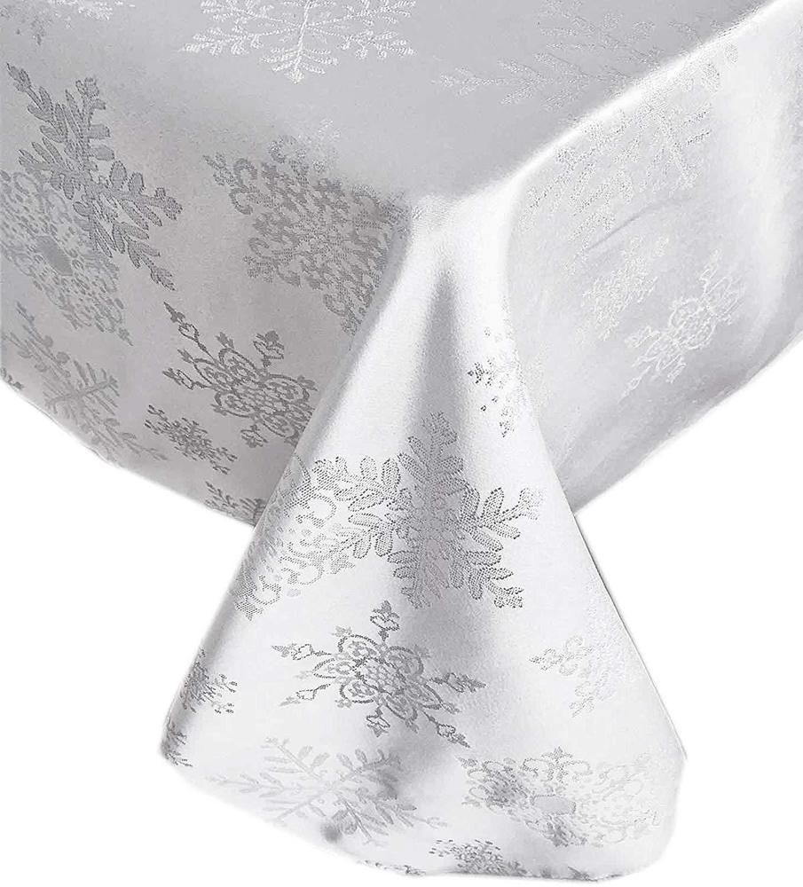 Christmas Tablecloth White Silver Snowflake 60 X 84 Oblong Winter Table Decor Newbridge Christmas Table Cloth Winter Table Table Decorations