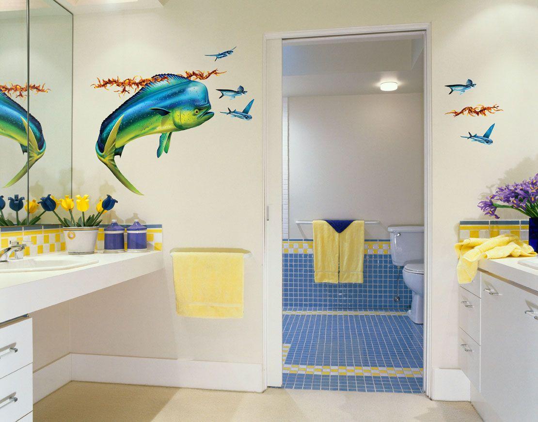 Mahi Mahi Dolphin Fish Wall Decal Kid Bathroom Decor Boys Bathroom Decor Bathroom Wall Stickers