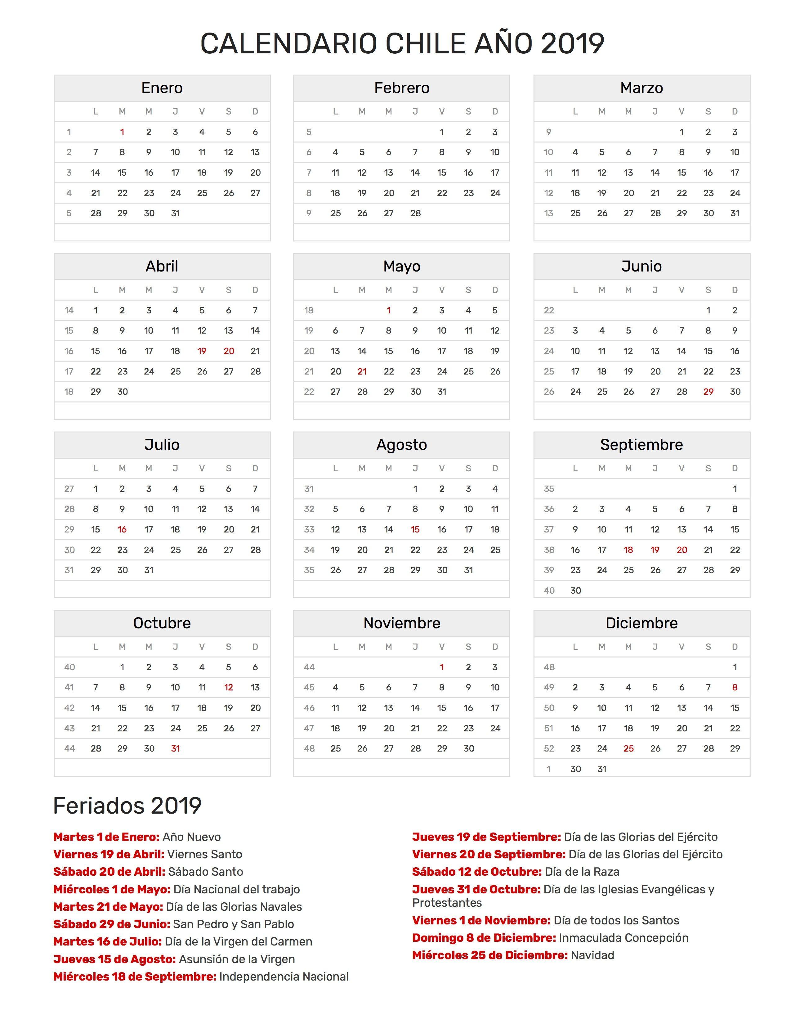 Calendario 2019 Chile Con Feriados Para Imprimir.Calendario 2019 Chile Calendario 2019 Chile Chile