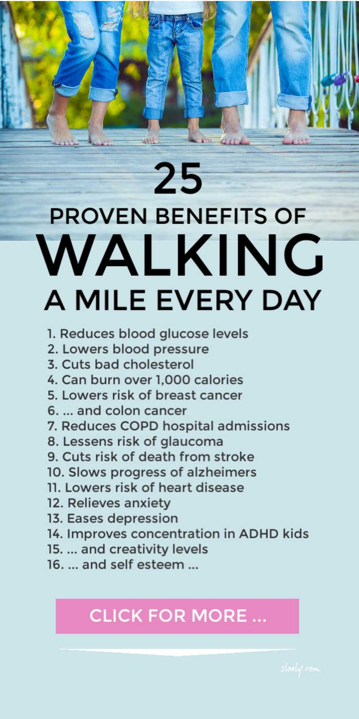 25 benefits of walking every day for just one mile. Medical research shows a daily walk can reduce and ease a wide range of chronic conditions and improve mental health in adults and kids. It's great if it's brisk but you don't have to do an all out power walk to enjoy the benefits. #walking #walkingbenefits #walkingdaily #benefitsofwalking #walkingforweightloss