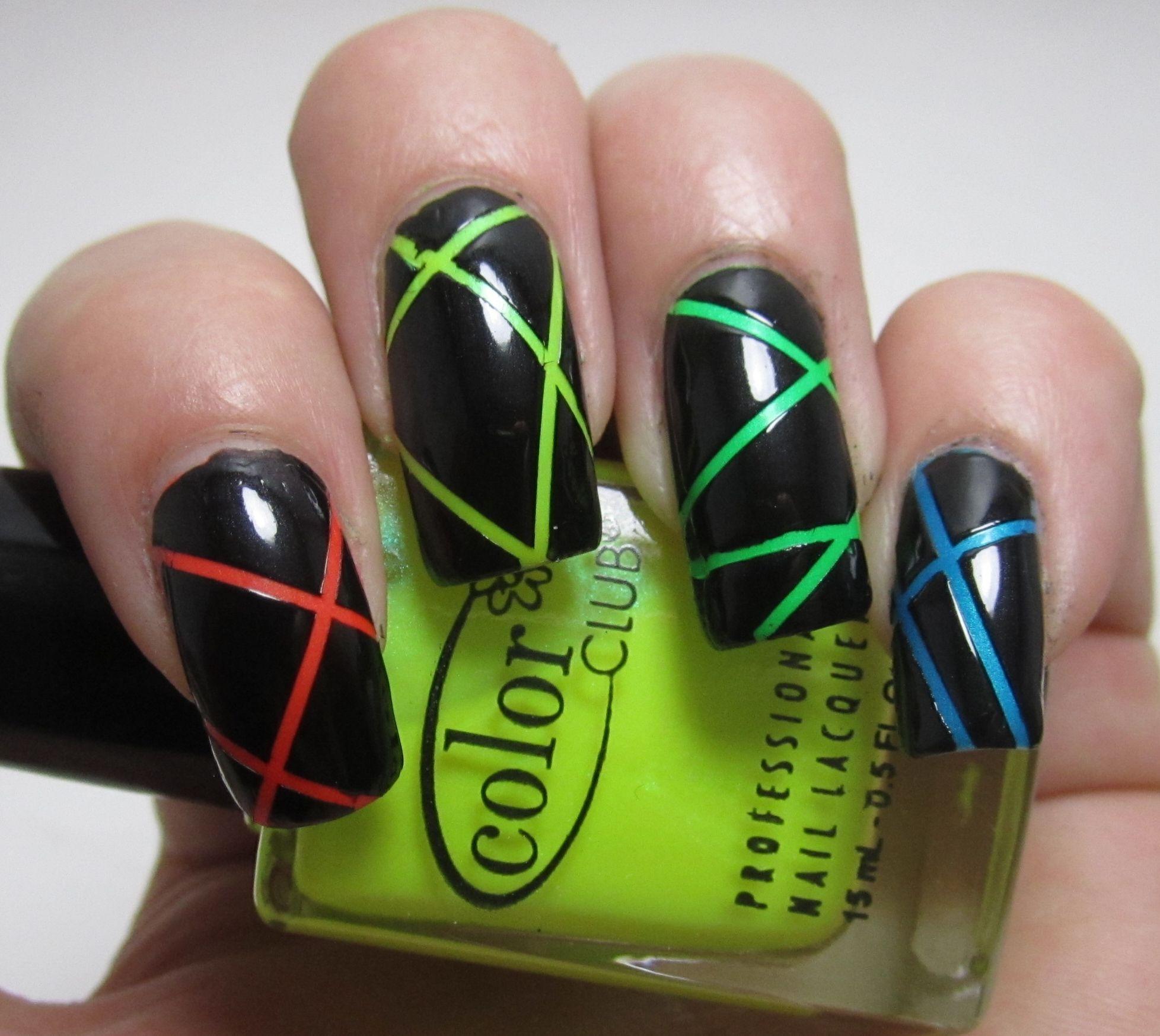 Nail Designs Using Tape: Neon Nail Polish Using Nail Art Tape