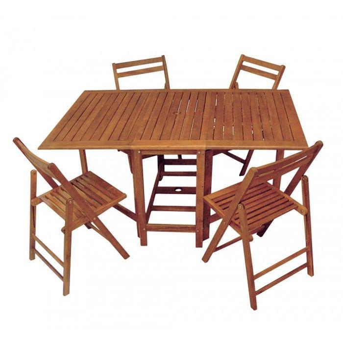 Set pieghevole Tavolo e quattro sedie in legno di acacia
