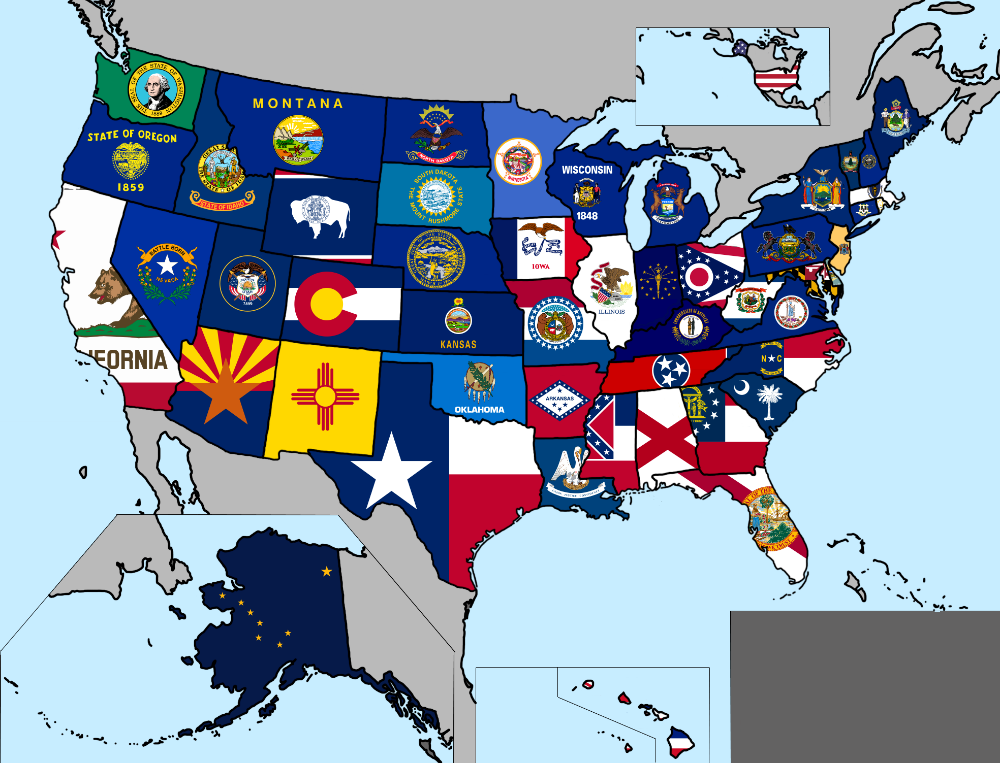 Map Of U S States Flags Flag Us Map Us States Flags