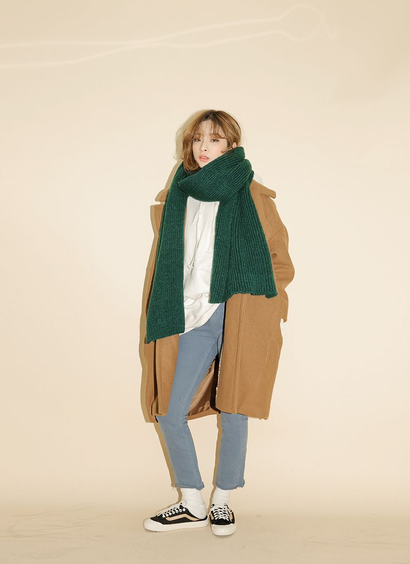 Oversized Notched Collar Coat (Brown) | STYLENANDA