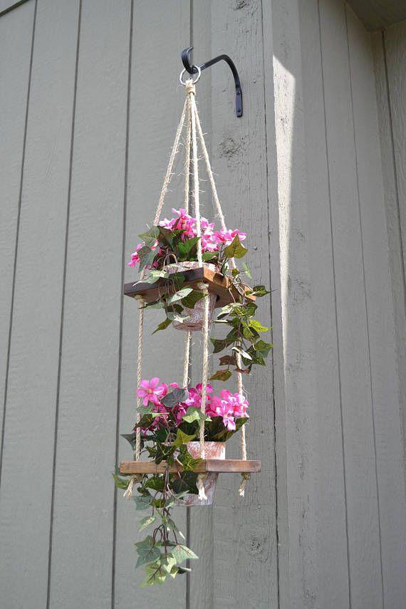 Rustic Wood Vertical Hanging Planter 2 Tier Plant Hanger Hanging Planters Plant Hanger Hanging Flower Pots