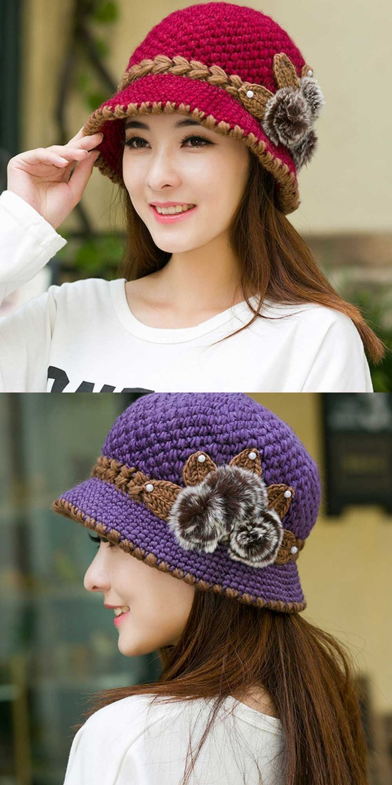 156fbc0ffcf New fashion women lady winter warm casual caps female beautiful wool  crochet knitted flowers decorated ears hats beanies  skullies     beanies   women  adult ...