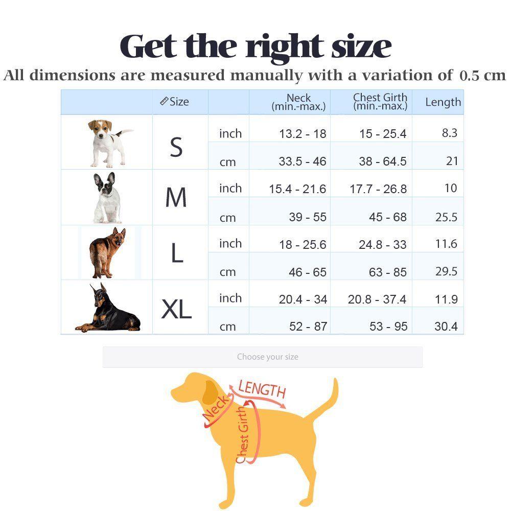 Rabbitgoo Dog Harness Sizing Chart In 2020 Dog Size Chart Dog Harness Large Dog Harness