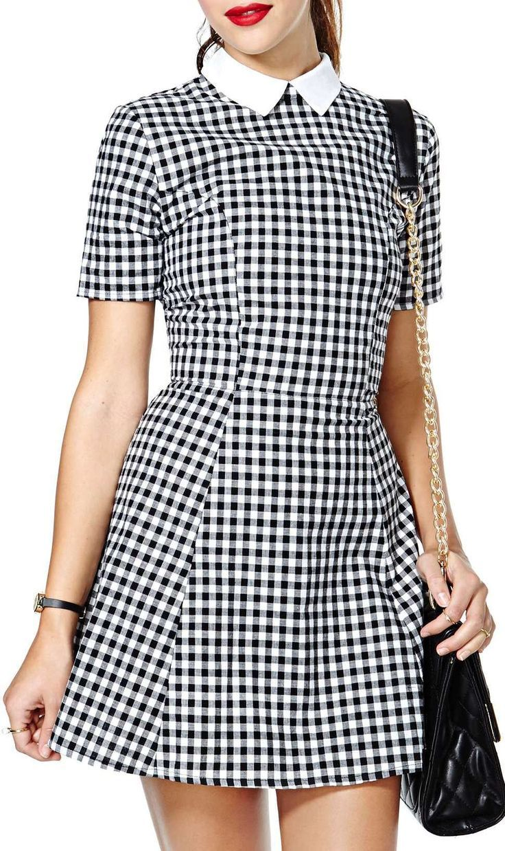 Gorgeous black and white checkered dress with collar