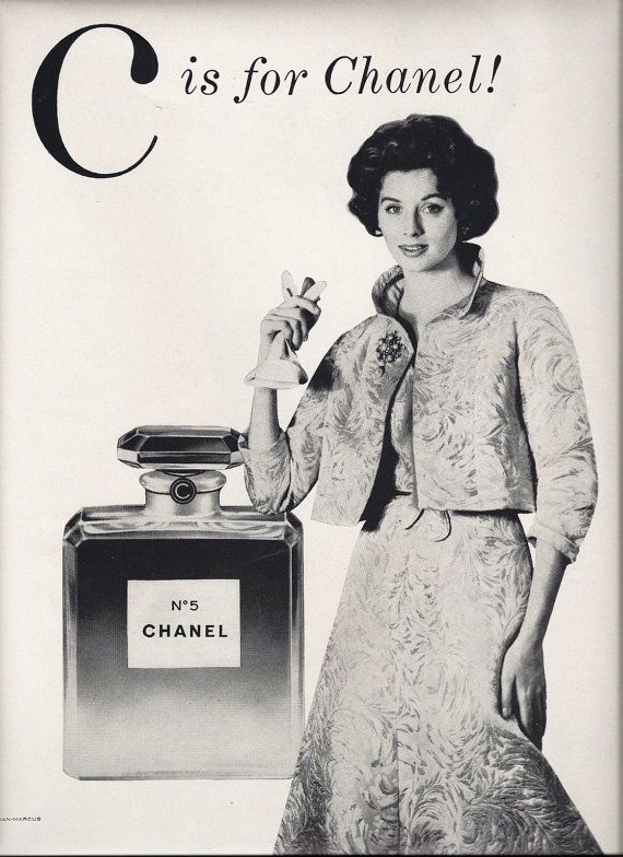 ac96305fe0f 1957 vintage Vogue Magazine Ad features an ad for Chanel Perfume on one  side and a Citroen Automobile on the other side. Will look fantastic in a