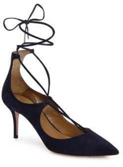 6691b4f169 Lace-up styling revamps iconic suede point-toe pumpSelf-covered heel