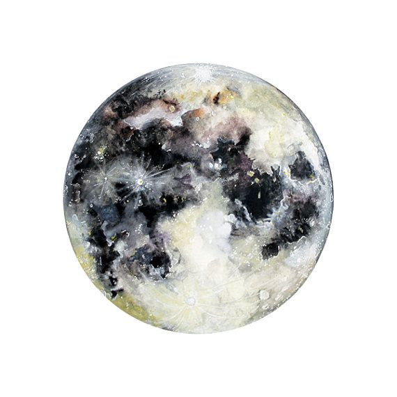 Watercolor Moon Art Print Hand Finished With Silver Leaf Watercolor Moon Moon Art Print Moon Art