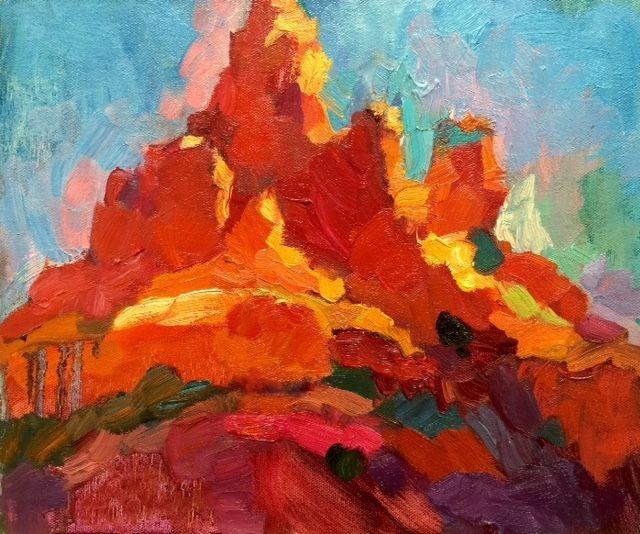Larisa Aukon,The Palace by Larisa Aukon Oil ~ 10 x 12