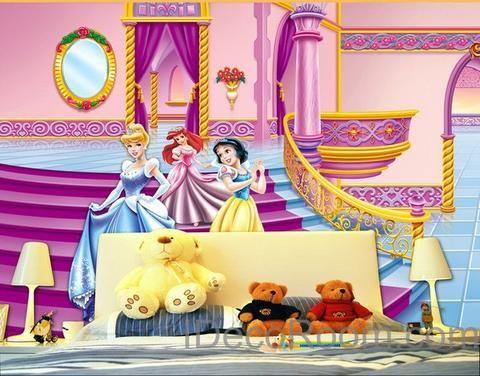 3D Snow White Bell Wall paper Disnye Princess Pink Wallpaper Wall ...