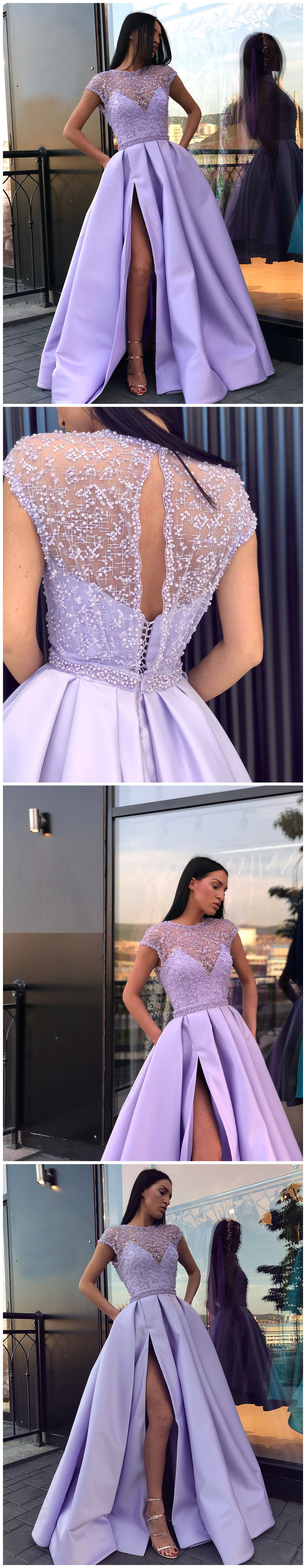Chic prom dress with slit scoop beading prom dresses party evening