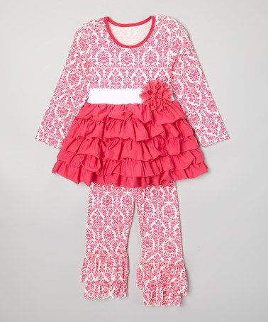 Hot Pink Damask Ruffle Top & Leggings - Toddler & Girls by Royal Gem #zulily #zulilyfinds