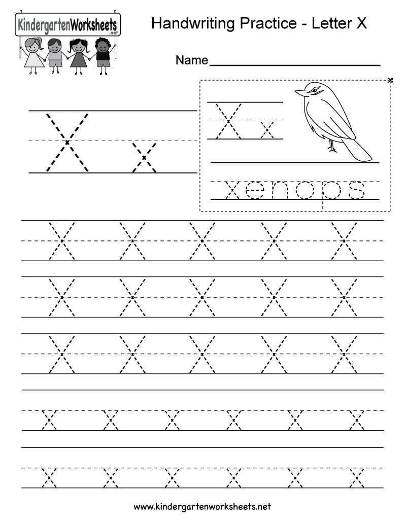 Letter X handwriting practice worksheet. This series of handwriting  alphabet worksheets can also be cut
