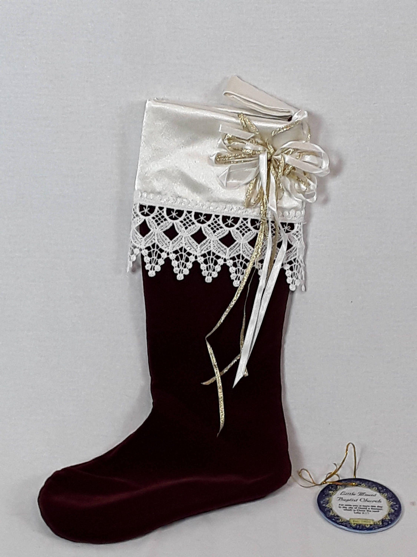 handmade red velvet christmas stocking with history by nanasattic17 on etsy