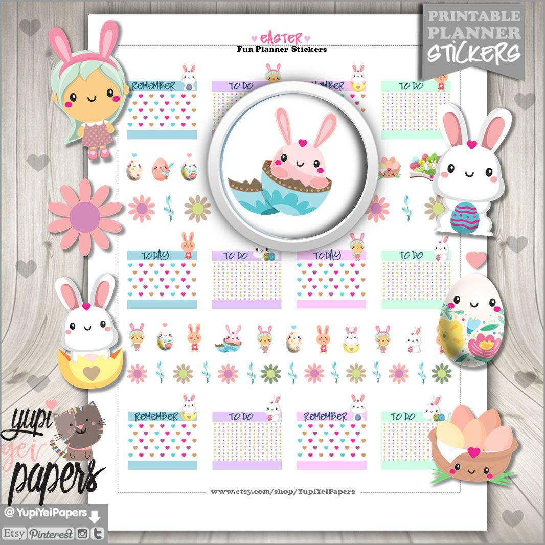Easter Stickers, Planner Stickers, Rabbit Stickers, Erin Condren, Kawaii Stickers, Spring Stickers, Planner Accessories, Eggs