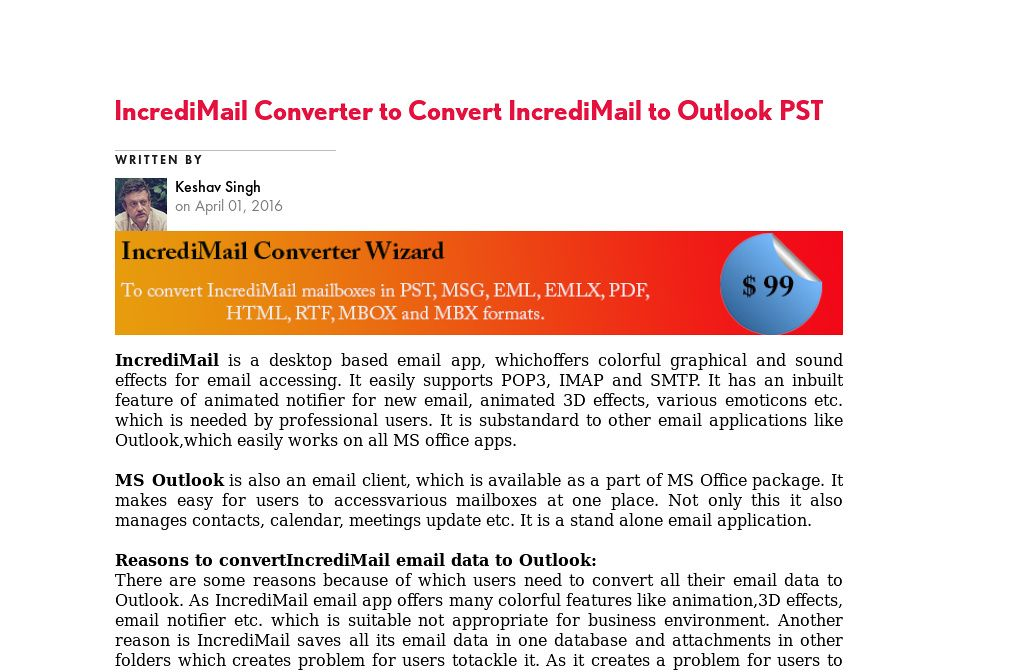 IncrediMail Converter to #Convert IncrediMail to #Outlook PST My
