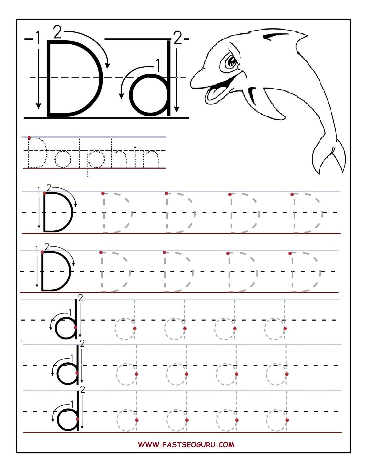 Worksheets Tracing Printable Worksheets worksheets for preschoolers printable letter d tracing preschool