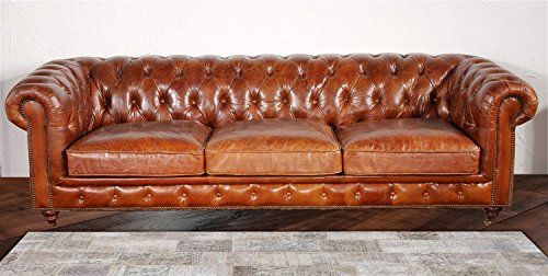 Pasargad Carpets Chester Bay Genuine Leather Tufted Sofa 3 2 X