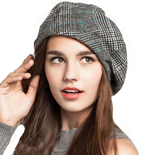 Women French Plaid Beret Vintage Wool Soft Winter Warm Beret Beanie Hat
