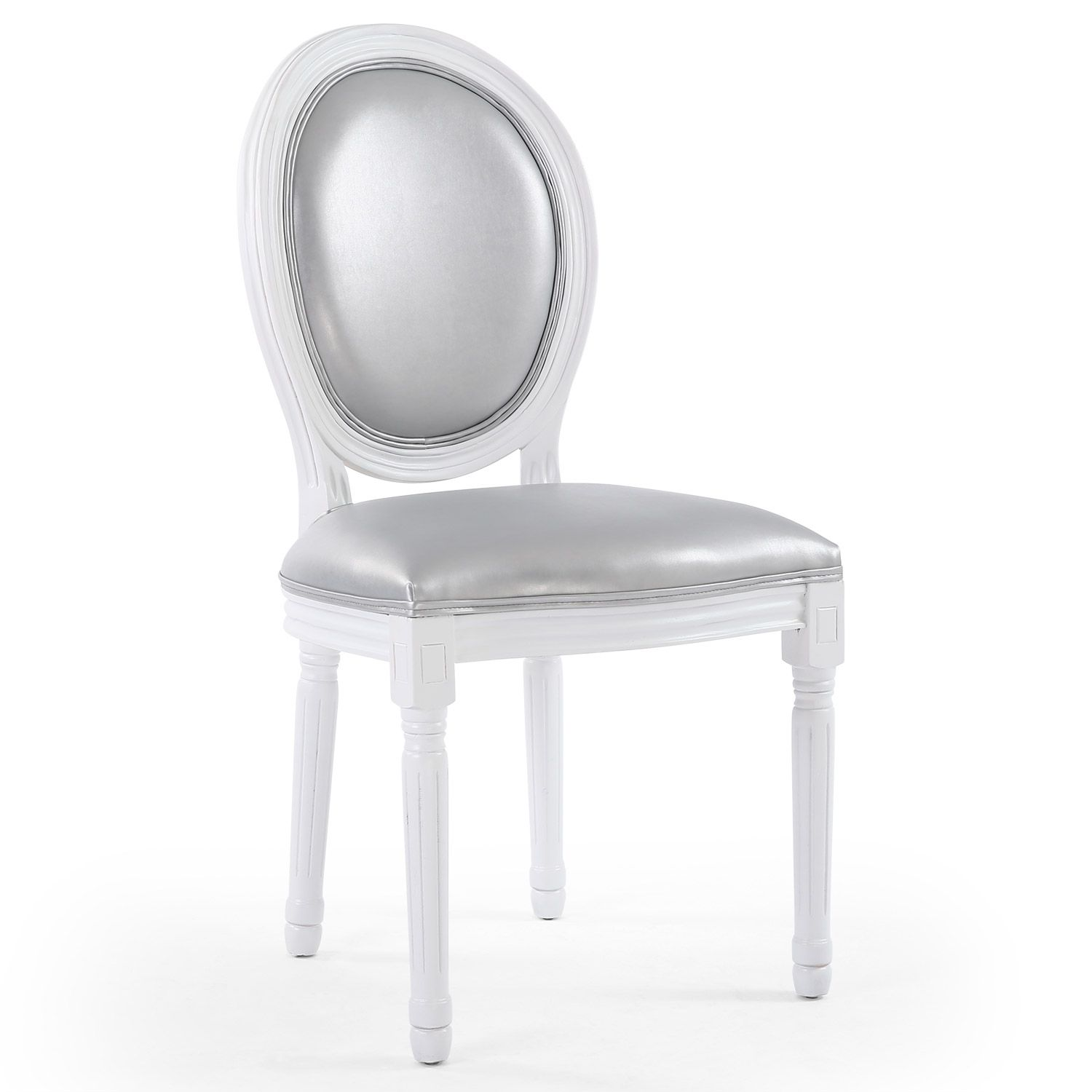 Chaise m daillon bois blanc et simili gris louis xvi lot for Chaise medaillon cuir