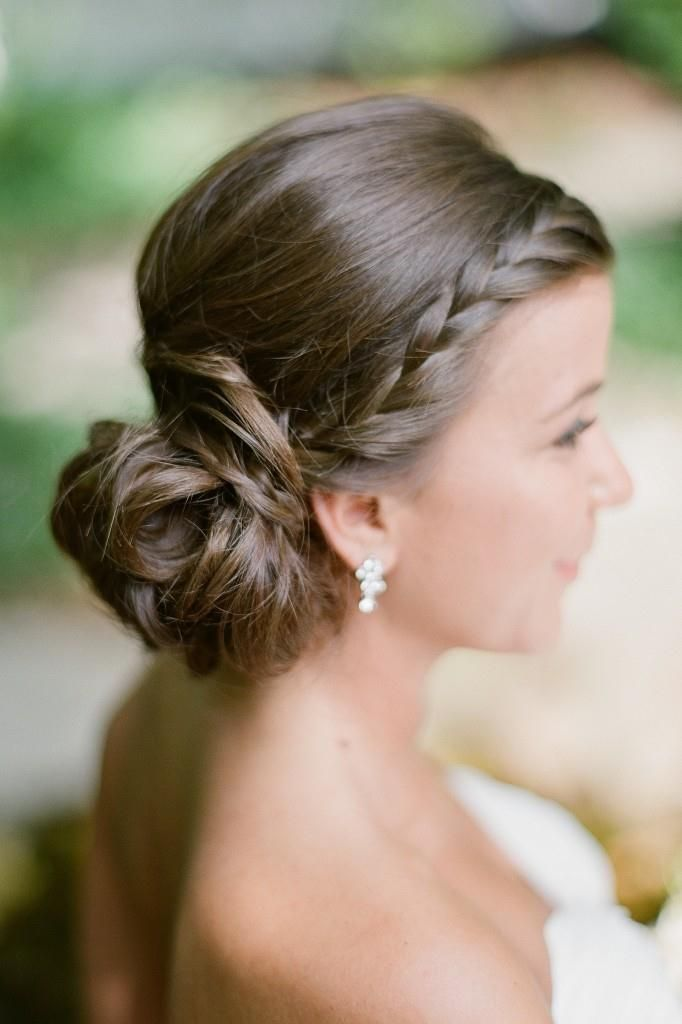 side bun hair style summer wedding bridal updo side braid low bun 6521