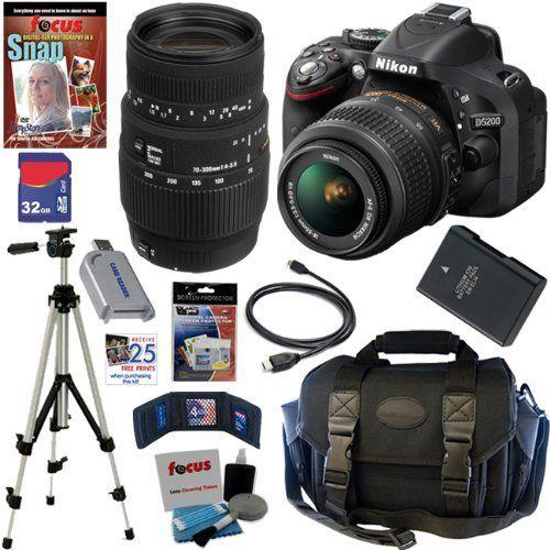 Nikon D5200 24 1 Mp Cmos Digital Slr Camera Black With 18 55mm F 3 5 5 6g Af S Dx Vr Lens And Sigma 70 300mm F 4 Camera Nikon Digital Slr Camera Digital Slr