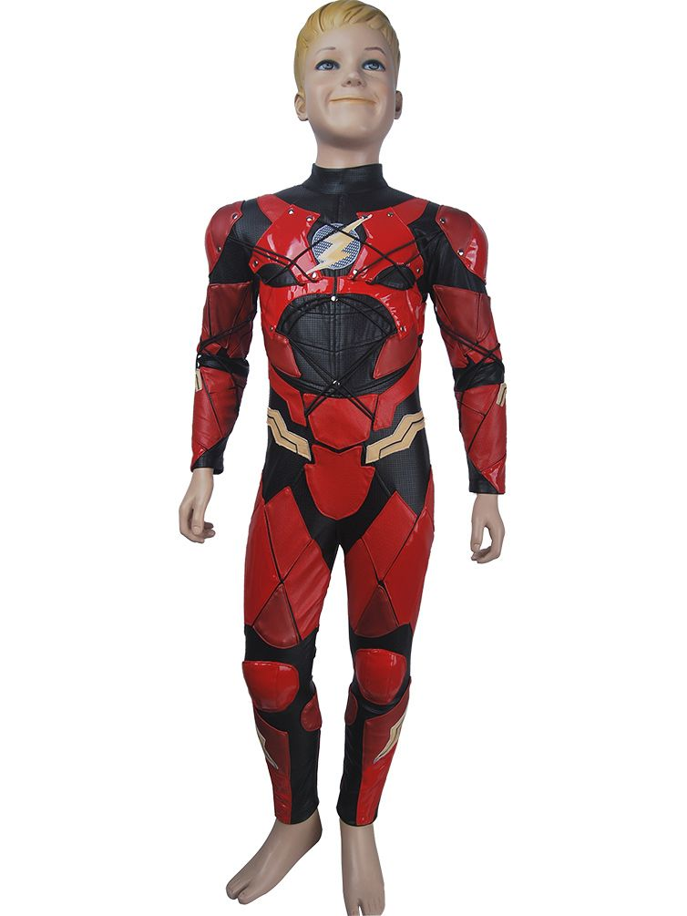 5c406e6bd8a Kids boys The Flash Barry Allen cosplay halloween costume suit DC Comics  Justice League superhero Flash suit outfit xmas birthday gift toys