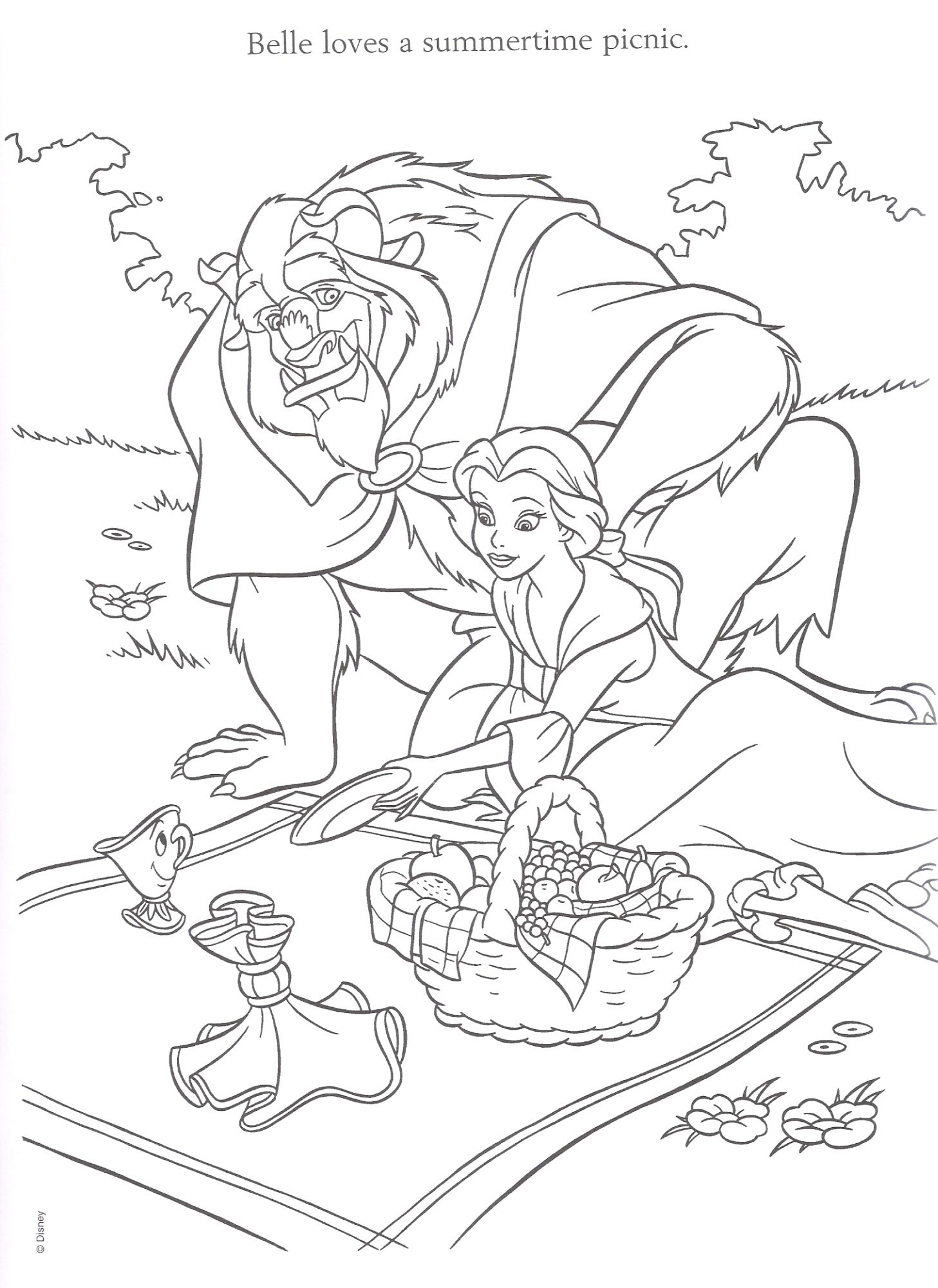 Beauty & The Beast Coloring Page from