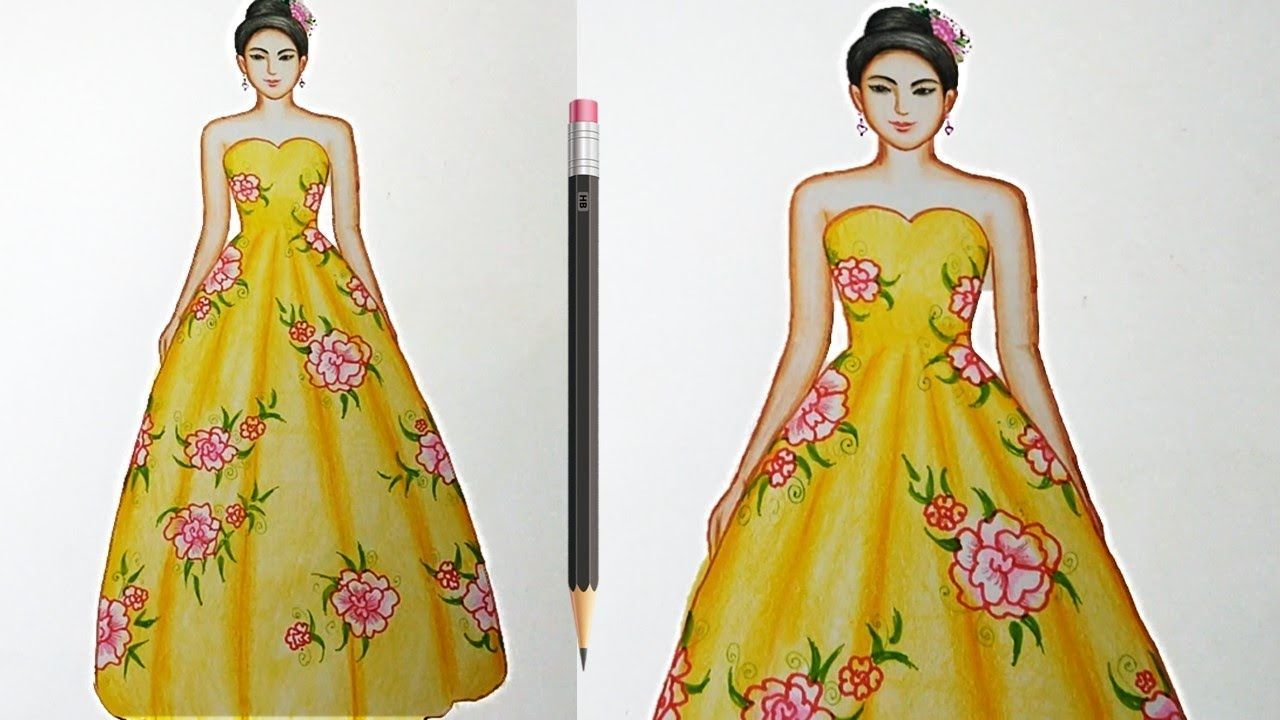 Drawing Flower Dress Using Color Pencil Fashion Illustration Art Fas Fashion Illustration Dresses Dress Illustration Fashion Illustration Making people's lives better through creativity. drawing flower dress using color pencil